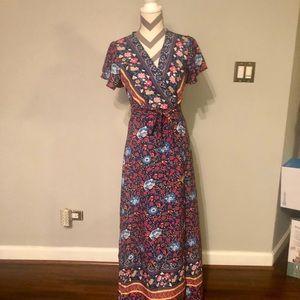 Dresses - Floral Flutter Sleeve Wrap Ruffle Maxi Dress NWOT